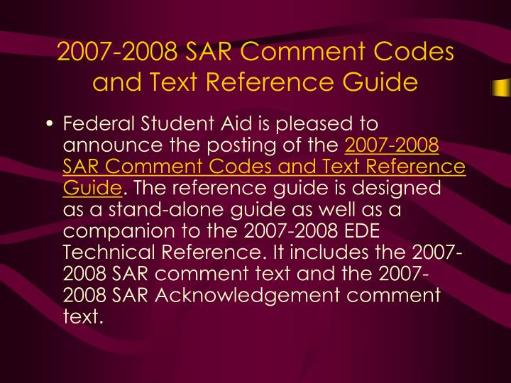 2007-2008 SAR Comment Codes and Text Reference Guide