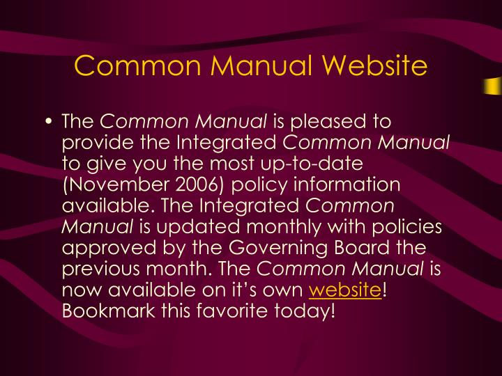 Common Manual Website