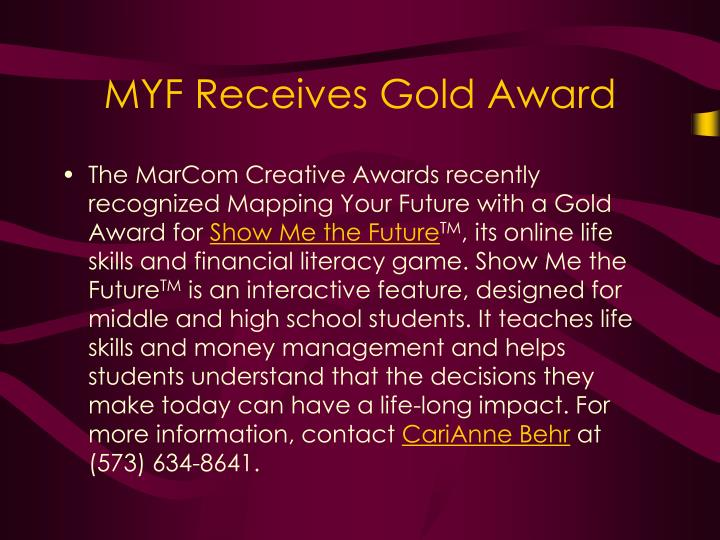 MYF Receives Gold Award