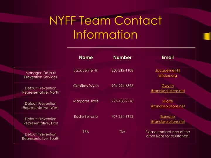 NYFF Team Contact Information