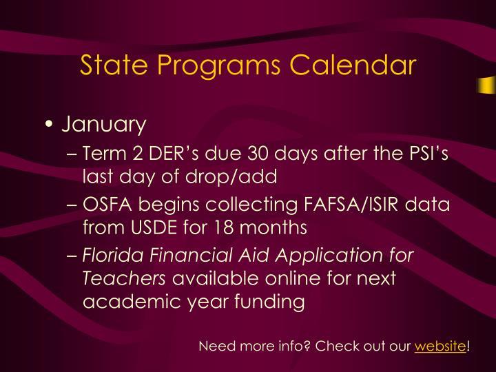 State Programs Calendar