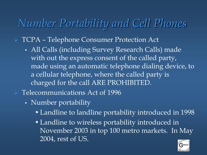 Number Portability and Cell Phones