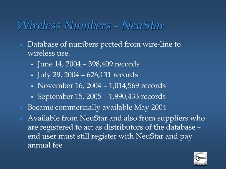 Wireless Numbers - NeuStar