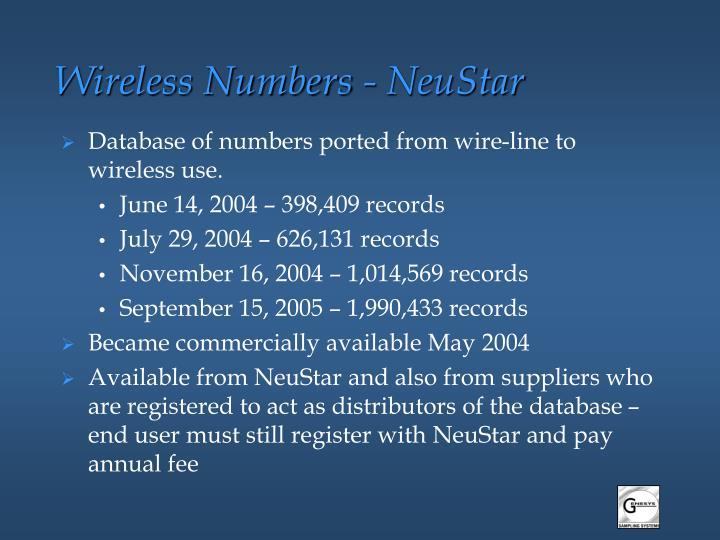 Wireless Numbers - NeuStar