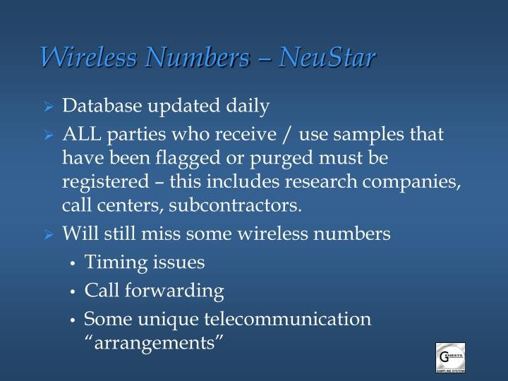 Wireless Numbers – NeuStar