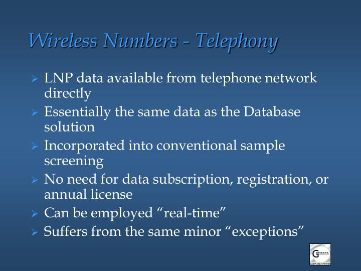 Wireless Numbers - Telephony