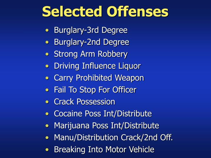 Selected Offenses