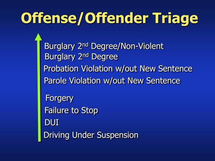 Offense/Offender Triage