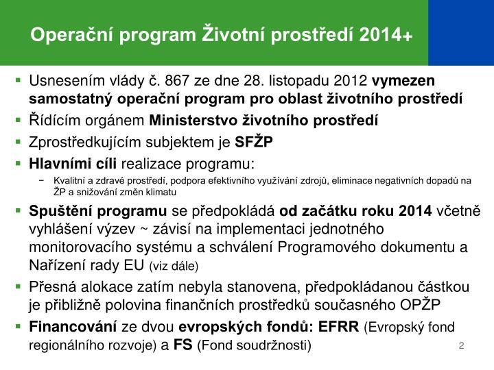 Operační program Životní prostředí 2014