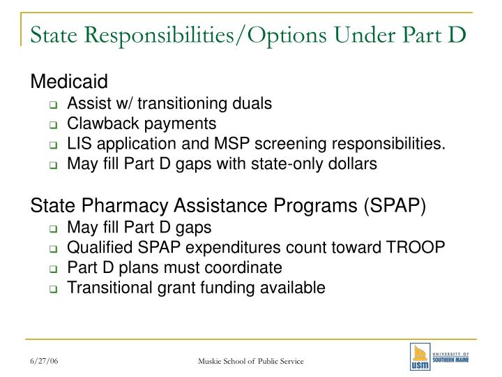 State responsibilities options under part d