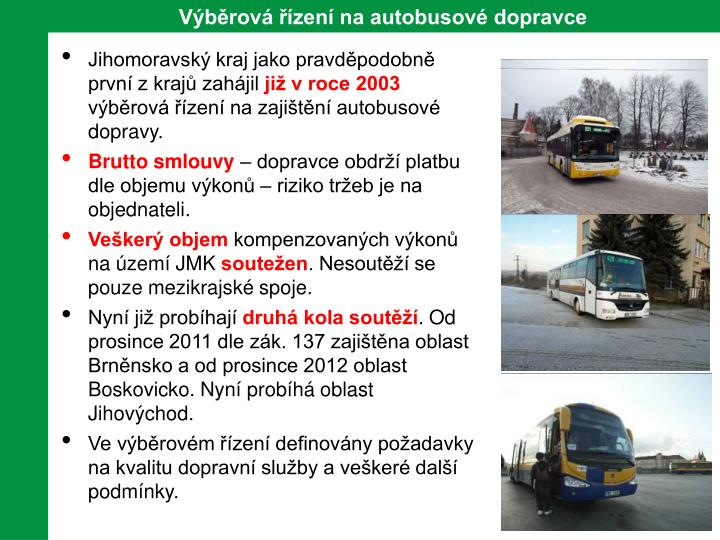 Výběrová řízení na autobusové dopravce