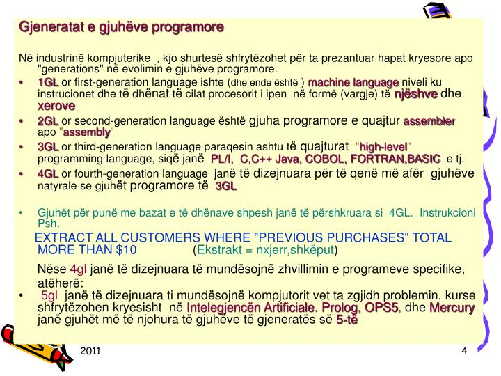 Gjeneratat e gjuhëve programore