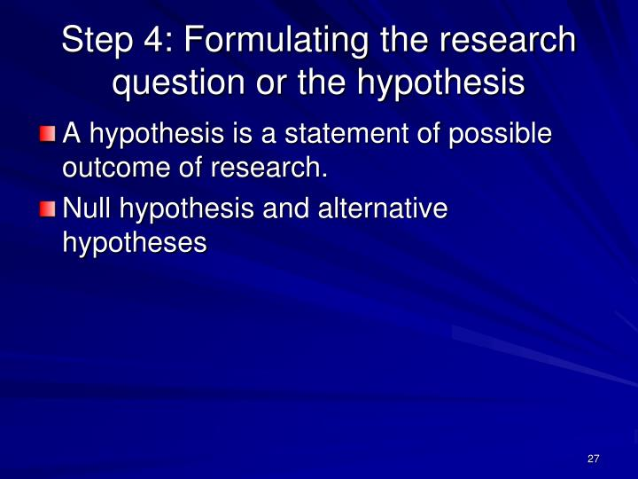 Hypothesis Formulation In Research