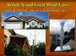 article x and local wind laws5
