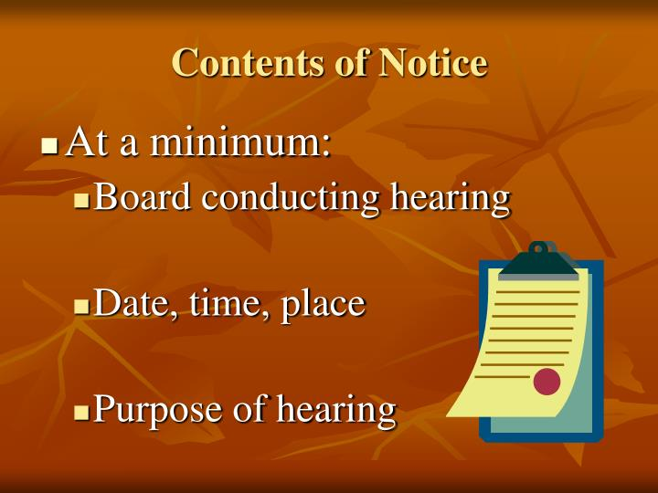 Contents of Notice