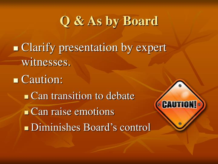 Q & As by Board