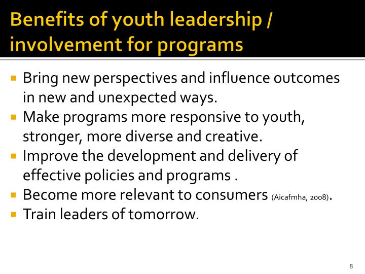 Benefits of youth leadership / involvement for programs