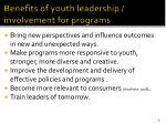 benefits of youth leadership involvement for programs