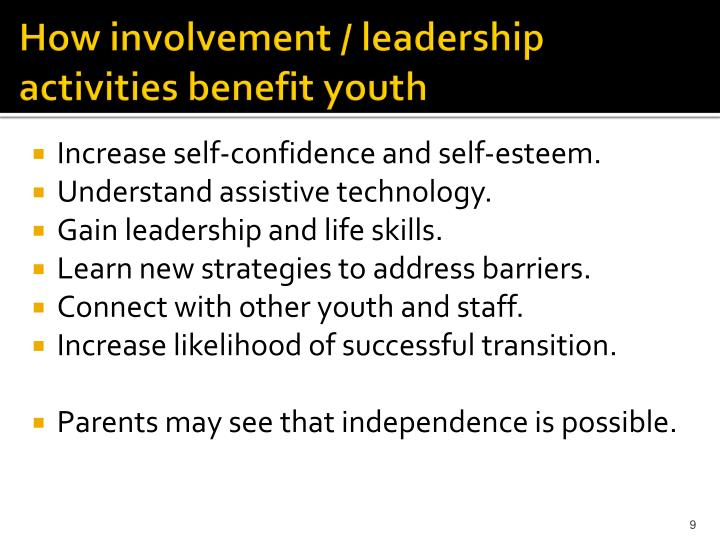 How involvement / leadership activities benefit youth