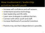 how involvement leadership activities benefit youth