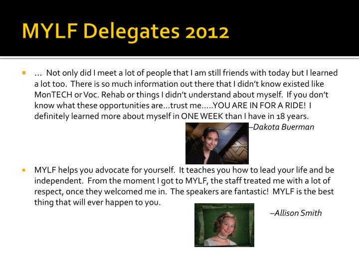 MYLF Delegates 2012
