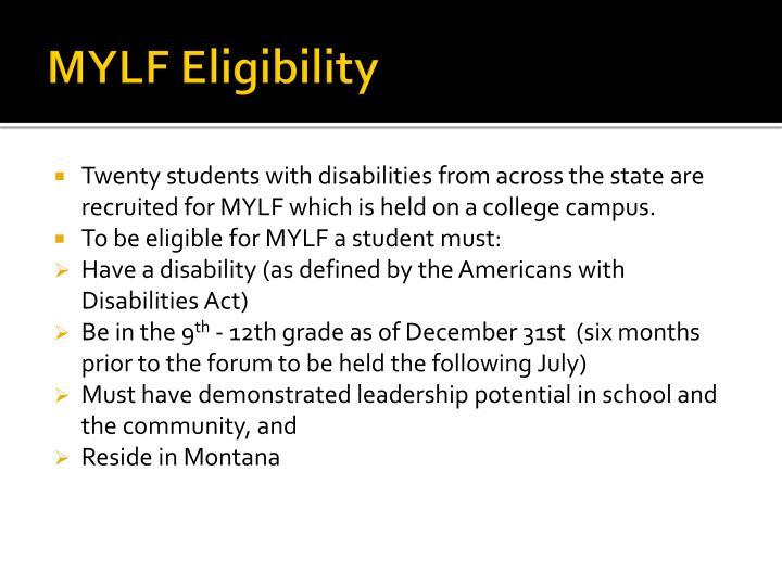 MYLF Eligibility