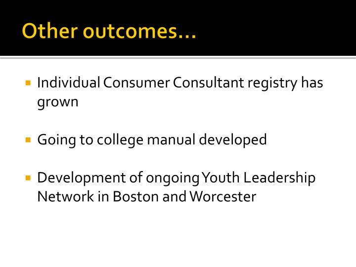 Other outcomes…