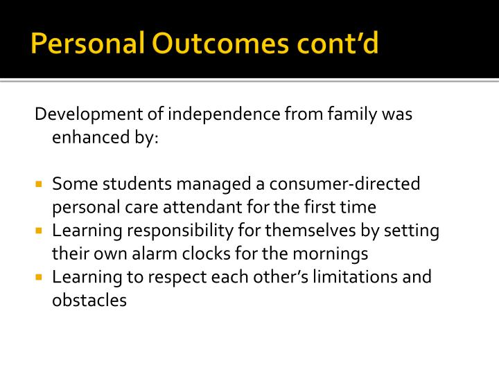Personal Outcomes cont'd