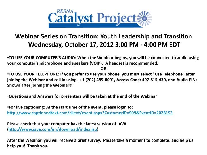 Webinar Series on Transition: Youth Leadership and Transition