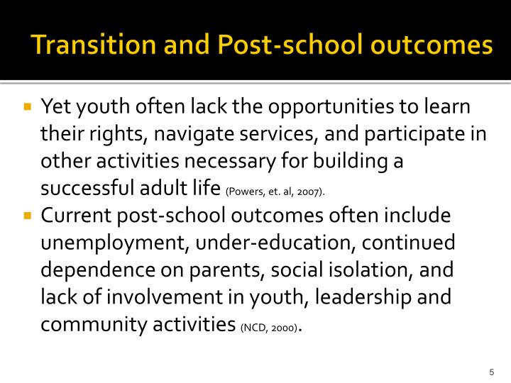 Transition and Post-school outcomes