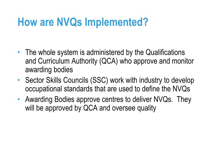 How are NVQs Implemented?