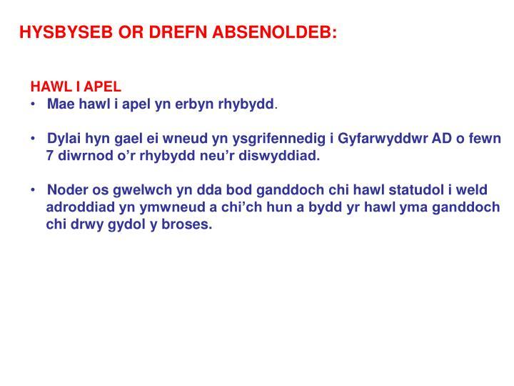 HYSBYSEB OR DREFN ABSENOLDEB:
