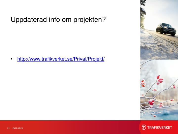 Uppdaterad info om projekten?