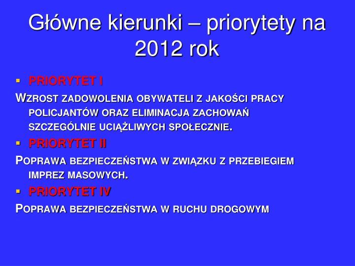Główne kierunki – priorytety na 2012 rok