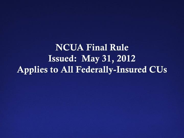 NCUA Final Rule