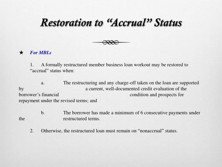 Restoration to