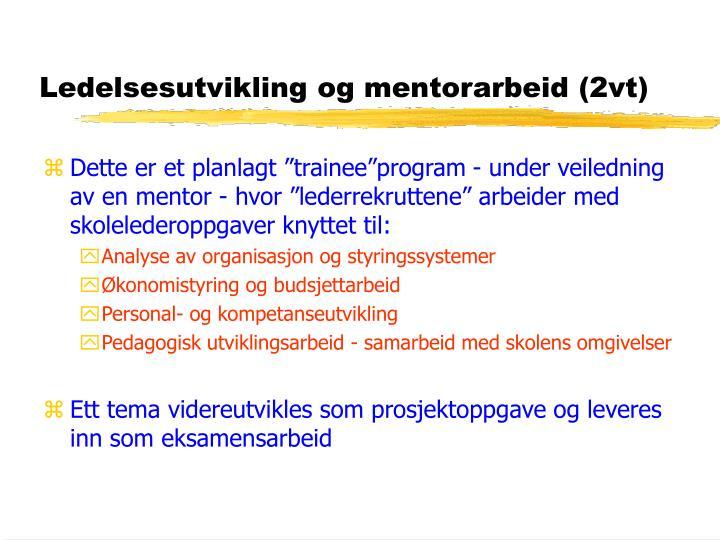 Ledelsesutvikling og mentorarbeid (2vt)