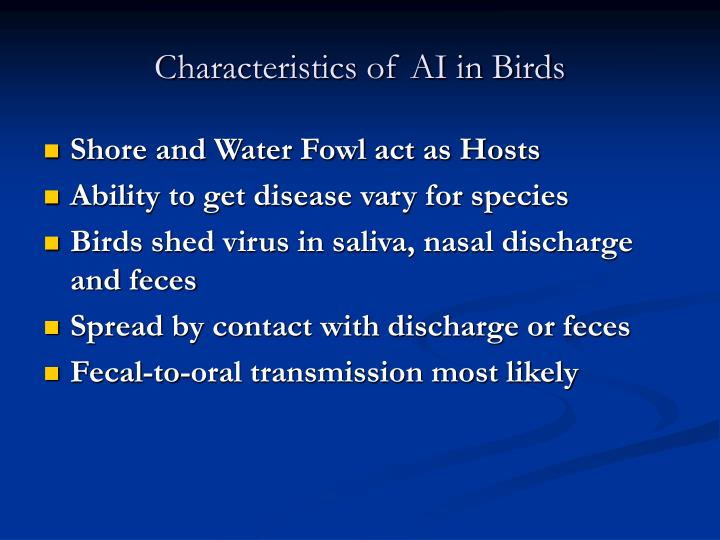 Characteristics of AI in Birds