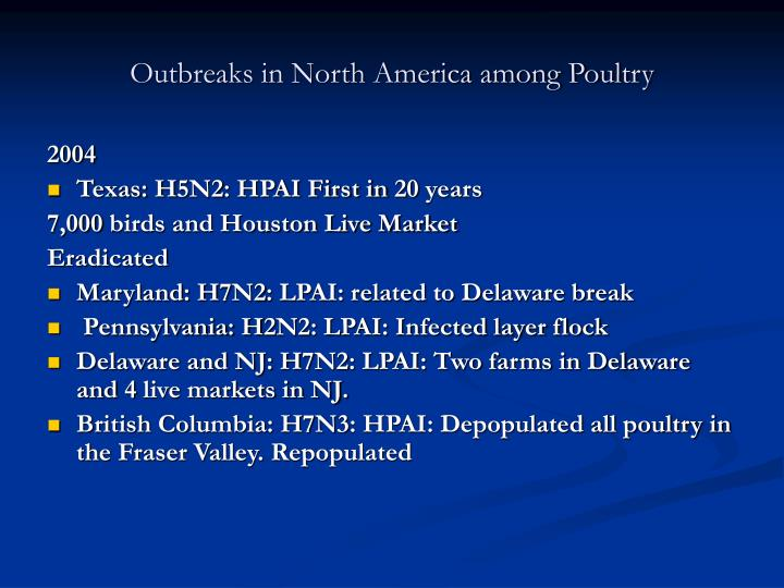 Outbreaks in North America among Poultry