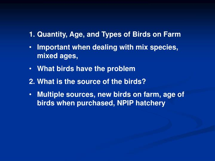 Quantity, Age, and Types of Birds on Farm