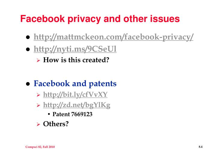 Facebook privacy and other issues