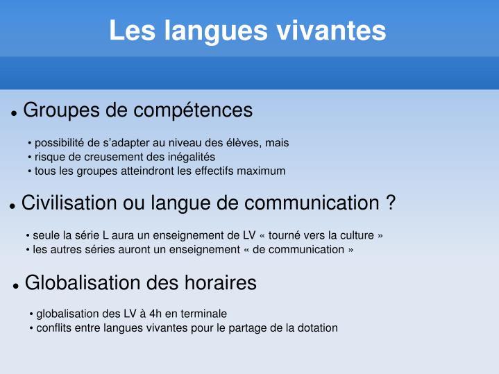 Les langues vivantes