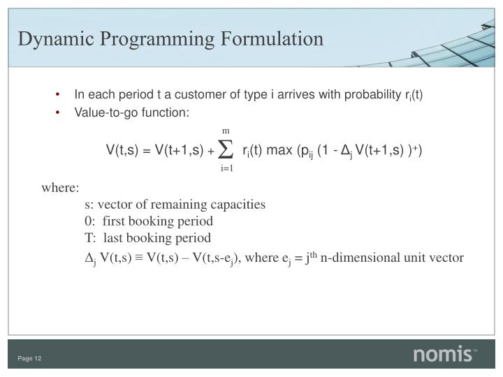 Dynamic Programming Formulation