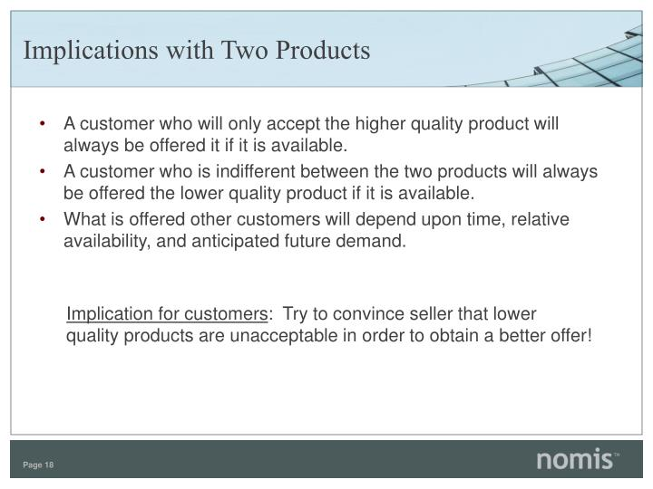 Implications with Two Products