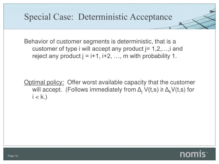 Special Case:  Deterministic Acceptance