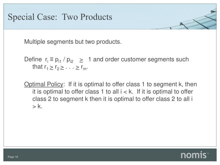 Special Case:  Two Products