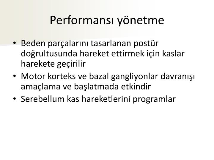 Performansı yönetme