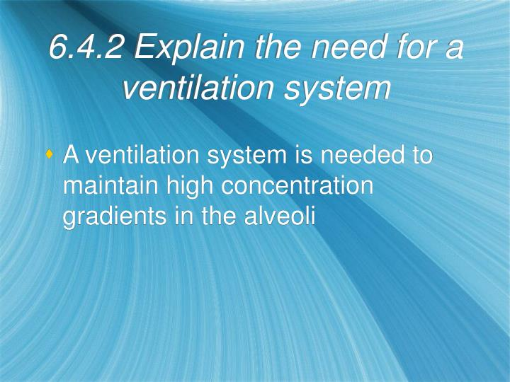 6.4.2 Explain the need for a ventilation system