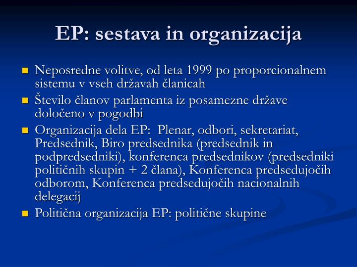EP: sestava in organizacija