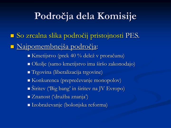 Področja dela Komisije
